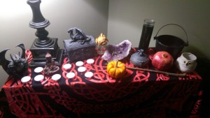 various altar sundries and samhain symbolism